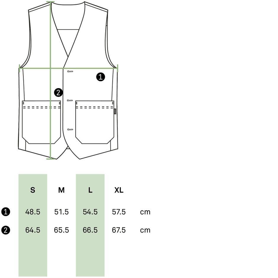 Size guide male vest