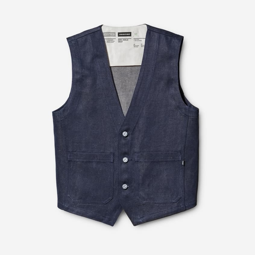 Male vest made from denim twill