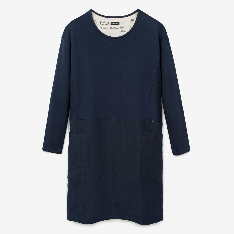 E176 FEMALE SWEAT DRESS, Dark Blue